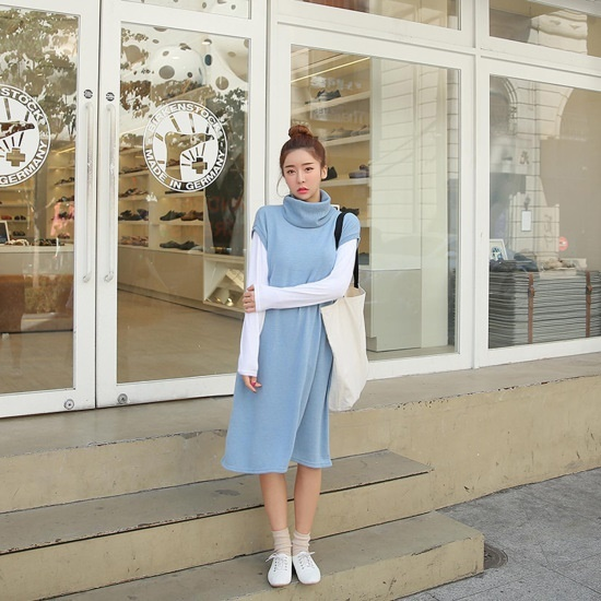 クルリクエンミポグンイトトゥルワンピース 塔/袖なしのワンピース/ 韓国ファッション