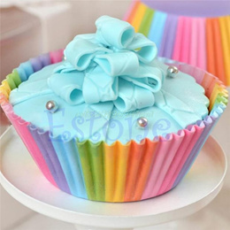 100Pcs Colorful Rainbow Paper Cake Cupcake Liners Baking Muffin Cup Case Party#T025#