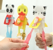 5 / Set Wholesale Cute animals and creative force sticky hooks hook Korea cartoon toothbrush rack 2 ..