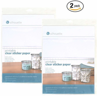 picture relating to Clear Printable Paper known as SilhouetteSilhouette Printable Very clear Sticker Paper (Pack of 2)