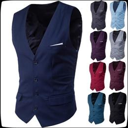 9ab218d7b51 New Men s Classic Formal Business Slim Fit Chain Dress Vest Suit Tuxedo  Waistcoat