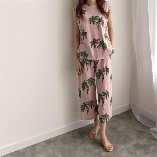 ココジェン行き来するようにココジェン椰子の木のデイリー・ルックセット プリントのワンピース/ 韓国ファッション