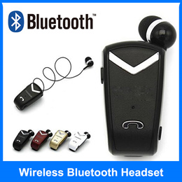 ★MINI Bluetooth 4.0 Earbud Car Business Earphones with Retractable Cable Noise Canceling phone