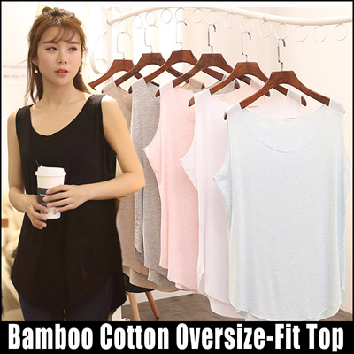 a3a5d404fa4 RELAX FIT PASTEL COLOR OVERSIZE BAMBOO COTTON SLEEVELESS TOP 5 colors