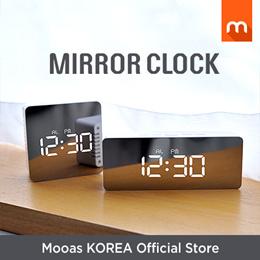 LED Mirror Clock 2 sizes / mirror clock / led clock / interior / alarm clock