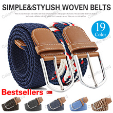 Local Shipping!Men Women Canvas Belt Elastic Woven Belts/Casual Pin Buckle Belt Fashion Canvass Belt