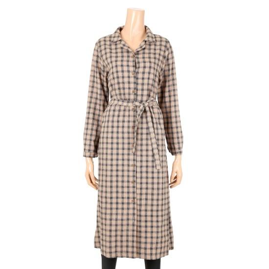 [タグ]チェックロング面ワンピースS174W905 面ワンピース/ 韓国ファッション