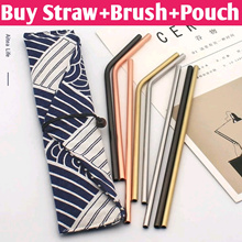 Teachers Day Gift / Straw+Brush+Black+Pouch / Food Grade 304 Stainless Steel Straws Set