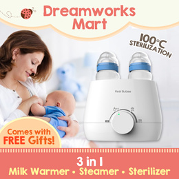 Real Bubee 3-in-1 Multi Purpose Milk Warmer . Steamer . Sterilizer | Electric and Manual Breast Pump