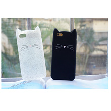 Super Cute Beard Cat shimmering Powder Shockproof Waterproof Silicone Phone Case Cover For iPhone7/8