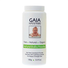 GAIA NATURAL BABY POWDER 100G TALC-FREE CORNSTARCH POWDER CALMING LAVENDER ORGANIC