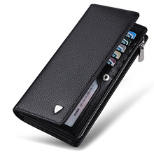 William POLO Mens Genuine Soft Cow Leather Long Purse Mens Wallet Money Clip