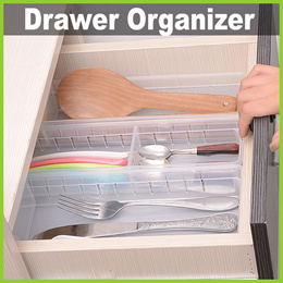 ★ Transparent Drawer Compartment Organizer ★ Stationery Cutlery Makeup School Office Neat Tidy