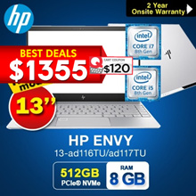 HP ENVY 13-ad116TU/ad117TU Notebook 1.23KG!!!( 8th Gen Intel i5-8250U 8GB 256GB  PCIe)  Light Weight|
