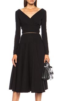 Fashionable V Neck Black Backless Openwork Long Sleeve Dress For Women