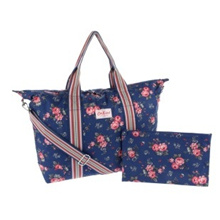 ★Cath Kidston★100%Authentic  Cath Kidston / bag / bag / [free shipping] HOLIDAY BAG FOLD AWAY POLYESTER FIELD ROSE ROYAL BLUE CK-BT416917  /