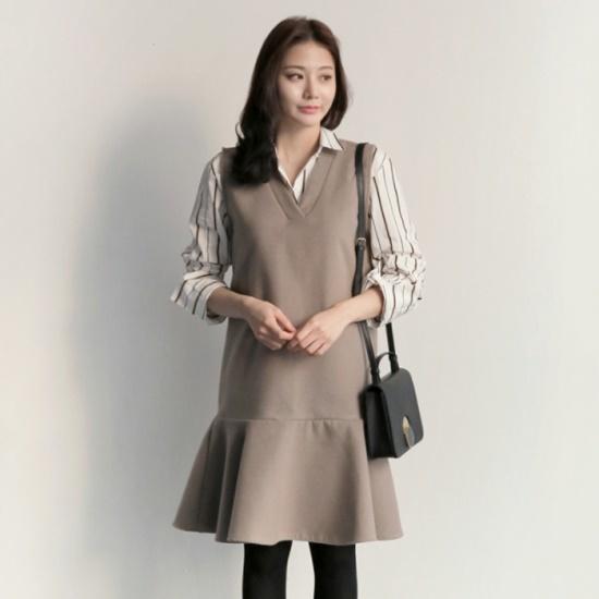 アップタウンホリックローレンハイops2color冬の身元袖なしのワンピースレイヤードワンピース 塔/袖なしのワンピース/ 韓国ファッション