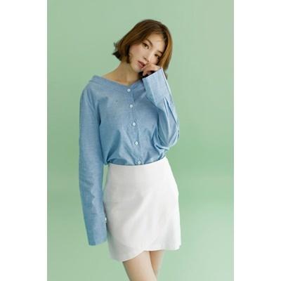 34. wide v neck blouse - blue - free