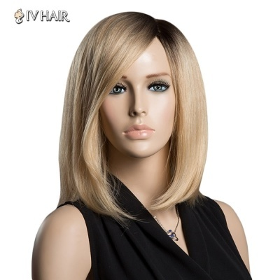 Sparkle Medium Side Parting Human Hair Capless Straight Ombre Color Siv Hair Wig