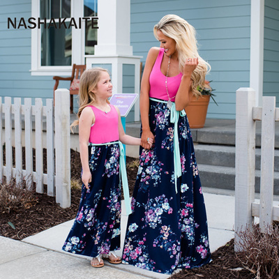 5807c196f8596 Mother Daughter Dresses Fashion Patchwork Floral Long Dress Mommy and me  clothes vestido mae e filha
