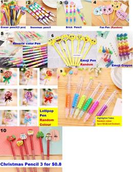 10 color Pen $1/Pencil $0.5/Emoji Face Pen/Emoji Erase/Pencilcase/Kids Party Gift. Goodies Bag.