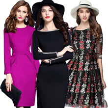 2017 Europe and Korea fashion / evening dress / Work / Dating / no sleeve dress long-sleeved dress