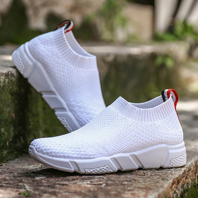 e03a6e756e Weweya Women Breathable Sneakers Sock Mesh Running Shoes Red White Black  Girls s Outdoor Sport Shoes