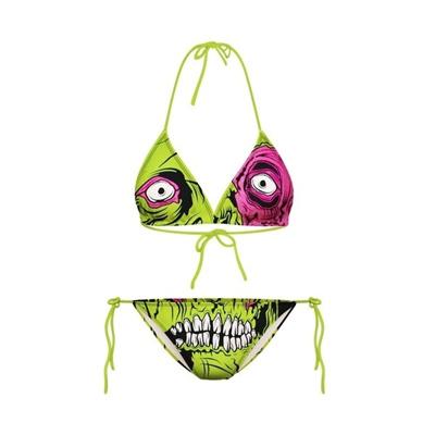 3bd5aa0c5ea1b Funny Green Zombies Printing Halter Swimwear Bikinis Set Bras+Pants (Color   Green)