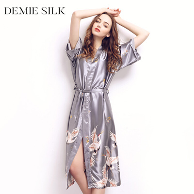 discount Demiesilk Women Imitation Silk Plus Size Sleep Lounge Robes Half  Sleeve Long Sleep Wear Nig f4bbedb9d