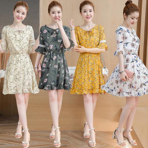 新しい大きいサイズの女性の小さな新鮮な花柄のレースの薄いシフォンドレス潮Yebian/韓国ファッション/ワンピース/花柄ワンピース/Vネックワンピース