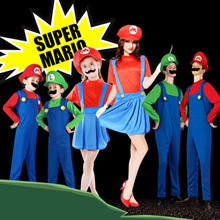Halloween costumes / toy Super Mario Luigi Brothers Kids Costume / party / Cosplay Boys Girls