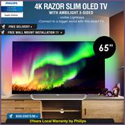 *QUUBE PROMO* Philips 65 inch OLED Razor Slim 4K UHD Android TV with Ambilight 3 sided 65OLED873