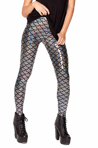 a026a2f7a7c592 Pink Queen Womens Mermaid Fish Scales Leggings Stretchy Tights Skinny Pants