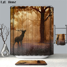 LzL Home All Kinks Of Deer Printed Shower Curtains Bathroom With 12 Hooks Waterproof Accessories For