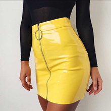 0eda4dabbb Quick View Window OpenWishAdd to Cart. rate:0. wholesale 2019 Women PU  Leather Mini Skirt High Waist Plain Flared Skirt Short Sexy Zipper Siderosph