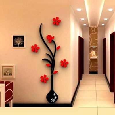 qoo10 - fashion 3d vase flower tree design art decal wall sticker