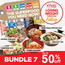 [Bundle of 7 meals FREE Carbs Blocker (Grape)] Xndo Healthy LOW Carbs meal set