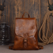 0f89b6eb1e9c Handmade Women Men Vegetable Tanned Genuine Leather Shoulder Bag Backpack  Bag