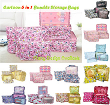 ♥ Hello Kitty/ Melody/ Twin Star/ Tsum Tsum Storage Bags ♥ 6 in 1 Bundle Set ♥ Bedsheet Shoe Travel