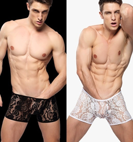 New Arrival Shorts Men s Lace Sexy Underwear Male Fun Transparent Fashion Black White Lace Boxers Pa
