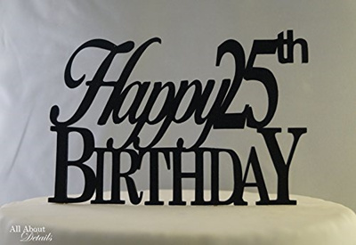 All About Details Black Happy 25th Birthday Cake Topper