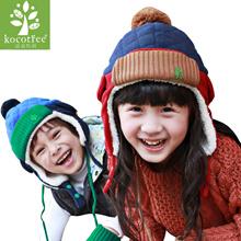 Korean winter gloves Winter Hat Gloves kids Boy Girls Winter Hat Gloves male children children baby warm plus velvet ear cap