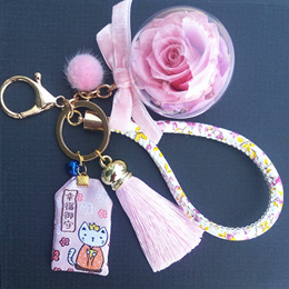 Preserved Rose Bag Charm Rose Keychain Enchanted Rose Lucky Charm Flower Ball Charm Valentine Gift