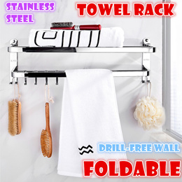 Foldable stainless steel tower rack bathroom storage kitchen rack bath towel hanger Drill-free wall