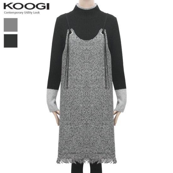 釘宮トゥウィドゥリンのひもワンピースKK3OP3176A 一(チェイル)毛織/・ツイードワンピース/ 韓国ファッション