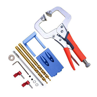Pocket Hole Jig Kit Screwdriver Step Drill Bit Woodworking Joinery Tool Set