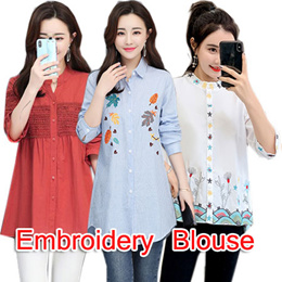 New Arrival ! Fashion embroidery Blouse/Casual Shirt/Loose Blouse/Work Shirt