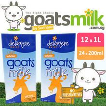 12 x 1L or 24 x 200ml GOATS MILK - Delamere Dairy