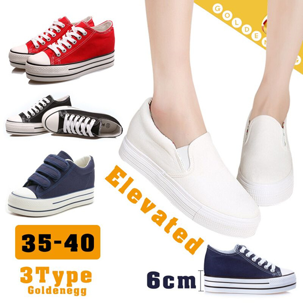 ?All Flat Price?Canvas Sneakers Look Higher for Women?6Cm Elevated Shoes for Lady-Canvas Shoes/ Comfortable Daily Fashion Shoes/ 3 styles/ 35~40 Deals for only Rp239.300 instead of Rp239.300