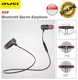 Awei AK8 Magnetic Switch Bluetooth Wireless Sports Earphone Earpiece Android IOS